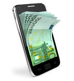 Smart phone with money concept. Euro. Stock Photography