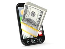 Smart phone with money. On white background Stock Photography
