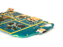 Smart Phone Motherboard Isolate on White Background Royalty Free Stock Photography
