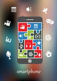 Smart phone with multimedia icons Royalty Free Stock Image