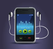 Smart phone music player. Detailed realistic illustration of the new era smart phone mobile with built in music player. There are trendy earphones plugged in Stock Images