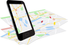 Smart Phone with navigation system Stock Image