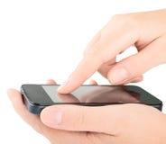 Smart Phone nelle mani Fotografie Stock Libere da Diritti