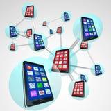 Smart Phone nelle sfere della rete collegate comunicazione Immagine Stock Libera da Diritti