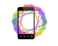 Smart Phone nero con le ombre colorate Fotografia Stock Libera da Diritti