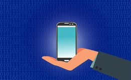 Smart Phone Net Banking icon business. Mobile, Banking, Smart Phone, Bure, Blue, Net Banking, Background, Vector, Hand, Smartphone Stock Images