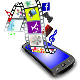 Smart phone  with new gadgets and features Stock Photo