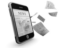 Smart phone news. Smart phone in semi-profile with a news page on screen, and additional news pages flying off the screen, isolated on a white background royalty free illustration
