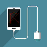 Smart Phone no battery charger. Royalty Free Stock Photos