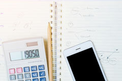 Smart phone on the note book Royalty Free Stock Photo