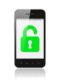 Smart phone with open lock Royalty Free Stock Photography