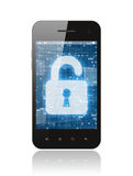 Smart phone with open lock Stock Photography
