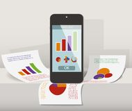 Smart phone on the paper. With graph. Business concept Stock Image