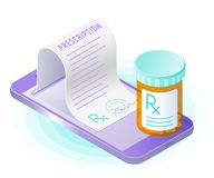 The smart phone, paper prescription from the screen, pill bottle. The smart phone, doctor online writes the medical prescription, pill bottle. Flat vector royalty free illustration