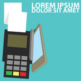 Smart phone pay merchant credit card. Flat vector illustration payment Stock Photography