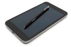 Smart phone with pen isolated Royalty Free Stock Photography
