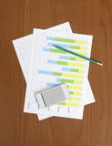 Smart Phone, Pencil and Chart on the Worktable. Smart Phone, Pencil and Chart on the Table Royalty Free Stock Photos