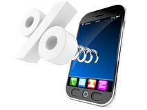 Smart phone with percentage sign Royalty Free Stock Image
