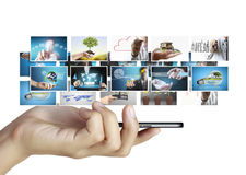 Smart phone with photos Stock Image