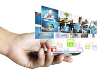 Smart phone with photos Royalty Free Stock Image