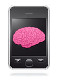 Smart phone with pink brain on screen Royalty Free Stock Photography