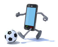 Smart phone that play soccer Stock Photos