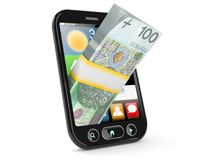 Smart phone with polish money. Isolated on white background Stock Images