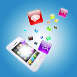 Smart phone and program icons. The concept of computer software Stock Photos