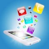 Smart phone and program icons Royalty Free Stock Photography