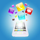 Smart phone and program icons. The concept of computer software Royalty Free Stock Images