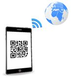 Smart phone with QR code Stock Photo