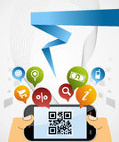Smart Phone: QR code application background Stock Photo