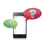 Smart-phone with question and answer speech Royalty Free Stock Images