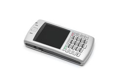 Smart phone with qwerty keyboard. On an isolated white background royalty free stock photo