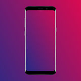 Smart phone. Realistic mobile phone smartphone with blank screen  on background. Vector illustration for printing and web Stock Photography