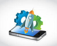 Smart phone rocket speed concept Royalty Free Stock Photos