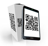 Smart Phone Scanning QR Code on Product Box. A modern smart phone scans the QR code on a product box to research information to decide whether to purchase or buy Royalty Free Stock Photos