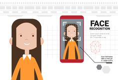 Smart Phone Scanning Woman Face Modern Identification System Modern Technology Of Biometrical Recognition Concept. Vector Illustration Royalty Free Stock Image