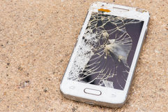 Smart phone screen is cracked. Royalty Free Stock Images