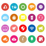 Smart phone screen flat icons on white background Stock Photo