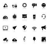 Smart phone screen icons with reflect on white background Royalty Free Stock Photography