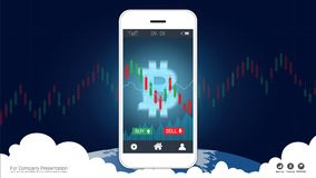 Smart phone screen showing bitcoin and Candlestick financial graph charts climbing up. Smart phone screen showing bitcoin and Candlestick financial graph charts Stock Photo