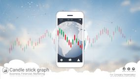 Smart phone screen showing candlestick and financial graph chart. Smart phone screen showing candlestick and financial graph chart, Infographic presentations Royalty Free Stock Images
