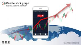 Smart phone screen showing candlestick and financial graph chart. Smart phone screen showing candlestick and financial graph chart, Infographic presentations Stock Image
