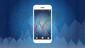 Smart phone screen showing candlestick and financial graph chart. Smart phone screen showing candlestick and financial graph chart, Infographic presentations Stock Photos
