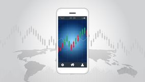 Smart phone screen showing candlestick and financial graph chart. Smart phone screen showing candlestick and financial graph chart, Infographic presentations Stock Photo