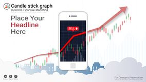 Smart phone screen showing candlestick and financial graph charts. Smart phone screen showing candlestick and financial graph charts, Infographic presentations Royalty Free Stock Photography
