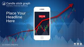 Smart phone screen showing candlestick and financial graph charts. Smart phone screen showing candlestick and financial graph charts, Infographic presentations Stock Images