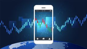 Smart phone screen showing financial and candlestick graph charts climbing up presentations template. Smart phone screen showing financial and candlestick graph royalty free illustration