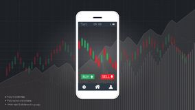 Smart phone screen showing financial and candlestick graph charts climbing up presentations template. Smart phone screen showing financial and candlestick graph vector illustration